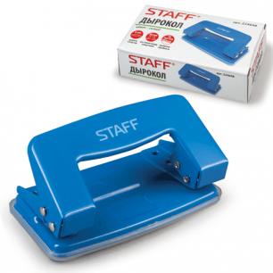 Дырокол STAFF, эконом, металлический, на 10 листов, без линейки, синий, 224648