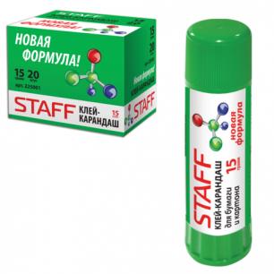 Клей-карандаш STAFF 15 г, новая формула, РОССИЯ, 225001