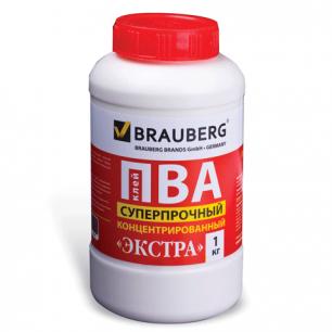 Клей ПВА BRAUBERG 1 кг Экстра Суперпрочный (керамика, ткань, кожа, дерево, бумага, картон), 600984
