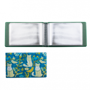 Визитница однорядная на 28 визитных, дисконтных или кредитных карт, кот бирюза, ДПС, 2054.Т7