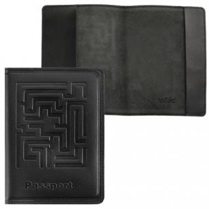 """Обложка для паспорта BEFLER натур. кожа, тиснение """"лабиринт"""", черная, О.45-7, ш/к-84321"""