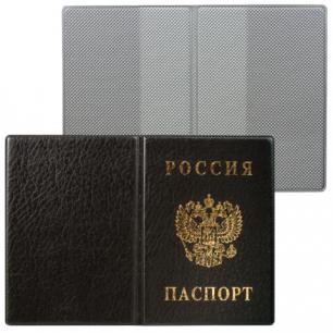 Обложка для паспорта России вертикальная ПВХ, цвет черный, ДПС, 2203.В-107