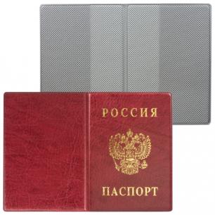 Обложка для паспорта России вертикальная ПВХ, цвет бордовый, ДПС, 2203.В-103