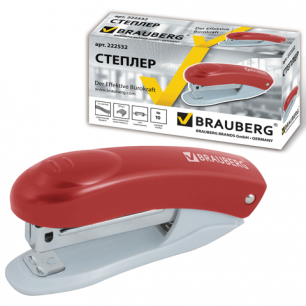 """Степлер BRAUBERG """"Einkommen"""", №10, до 12 л, пласт корпус, метал.мех, встроен антистеп, красный, 222532"""