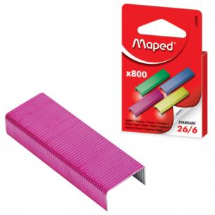 Скобы для степлера MAPED (Франция), №26/6, цветные, 800шт, 324806