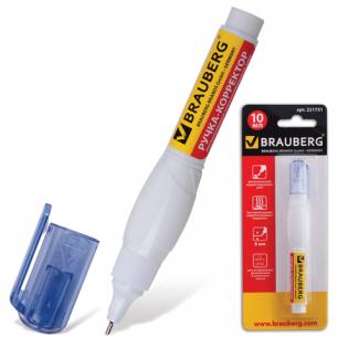 Ручка-корректор BRAUBERG 10мл, металл. наконечник, в блистере, 221751