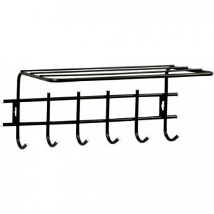 Вешалка настенная металлическая, 6 крючков+полка (в290*ш620*г110мм)  Стандарт 1/6, цвет черн, шк02792