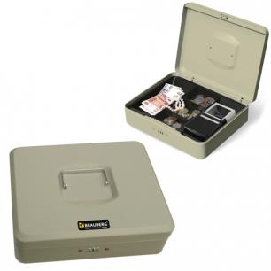 Ящик для денег, ценностей, документов, печатей BRAUBERG 90*240*300мм, код. замок, св-серый, 290456