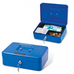 Ящик для денег, ценностей, документов, печатей BRAUBERG 90*180*250мм, с ключевым замком, син, 290335
