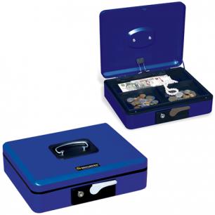 Ящик для денег, ценностей, документов, печатей BRAUBERG 90*240*300мм, с ключ. зам., т-синий, 290458