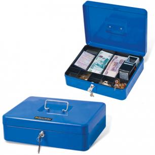 Ящик для денег, ценностей, документов, печатей BRAUBERG 90*240*300мм, с ключевым замком, син, 290336