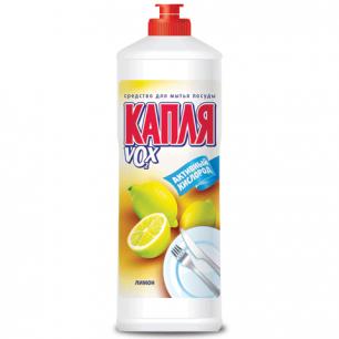"""Средство для мытья посуды КАПЛЯ VOX активный кислород, 1000мл, """"Лимон"""", 1576"""