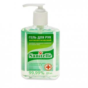 """Гель для рук антисептический SANITELLE (Санитель)  250 мл, """"Алоэ"""", с витамином Е, дозатор, ш/к 60114"""