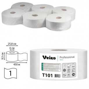 Бумага туалетная 450м, VEIRO (Q1), КОМПЛЕКТ 6шт, Basic, (диспенсер 600286)  T101