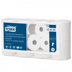 Бумага туалетная TORK (Т4), 2-х сл., спайка 8шт.х23м, Premium, (диспенсер 601826, 602945), 120320