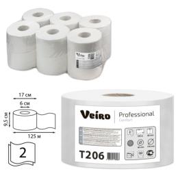 Бумага туалетная 125м, VEIRO (Q2), КОМПЛЕКТ 12шт, Comfort, 2-сл, (дисп.600164,601663,-664)  T206