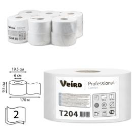 Бумага туалетная 170м, VEIRO (Q2), КОМПЛЕКТ 12шт, Comfort, 2-сл, (дисп.600164,601663,-664)  T204
