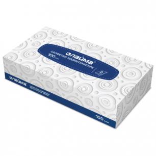 Салфетки косметические ЛАЙМА, 2сл, 20*20см, 100шт в картонном боксе, белые, 126909