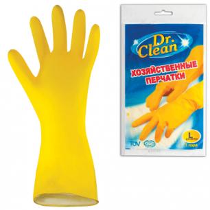 Перчатки хоз.латексные DR.CLEAN (Доктор Клин), без х/б напыления, размер L (большой), ш/к 44845