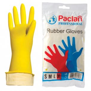 """Перчатки хоз. резиновые PACLAN """"Professional"""" с х/б напылением, размер XL (оч.больш), желтые, шк76133"""