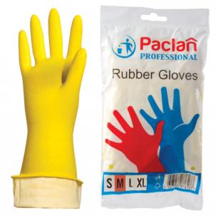 """Перчатки хоз. резиновые PACLAN """"Professional"""" с х/б напылением, размер M (средний), желтые, шк71640"""