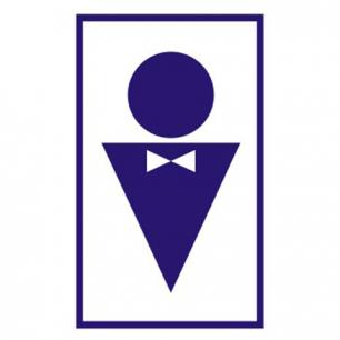 """Знак вспомогательный """"Туалет мужской"""", прямоугольник 120*190мм, самоклейка, 610040/В 37"""