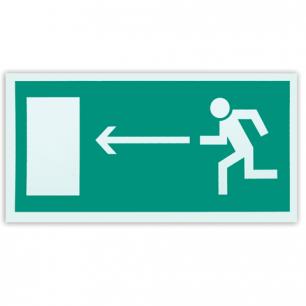 """Знак эвакуационный """"Направление к эвакуацион.выходу налево"""", 300*150мм, самокл, фотолюминесцентный, Е 04"""