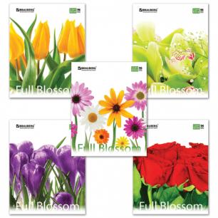 Тетрадь 96л. BRAUBERG кл., обл. мел. карт., Full Blossom (Цветы)  (5 видов), 401845