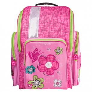 Ранец жесткокаркасный BRAUBERG для нач.школы, дев., розовый, Цветы и бабочка, 36*26*14 см, 225324