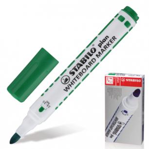 """Маркер для доски STABILO """"Plan"""", пулевидный наконечник 2,5-3,5 мм, 641/36, зеленый"""