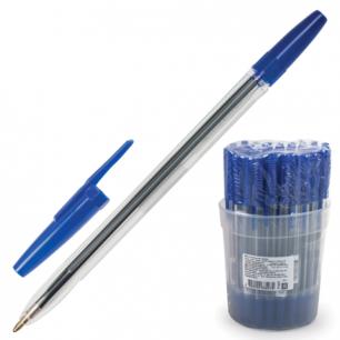 """Ручка шариковая СТАММ """"Оптима"""", корпус прозрачный, толщина письма 1мм, РО01, синяя"""