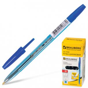 Ручка шариковая BRAUBERG SBP013 (типа CORVINA), корп. тонированный синий, толщ.письма 1мм, 141669,син