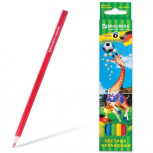 """Карандаши цветные BRAUBERG """"Football match"""", 6 цв., заточенные, карт. упак., 180521"""
