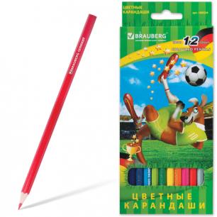 """Карандаши цветные BRAUBERG """"Football match"""", 12 цв., заточенные, карт. упак., 180534"""