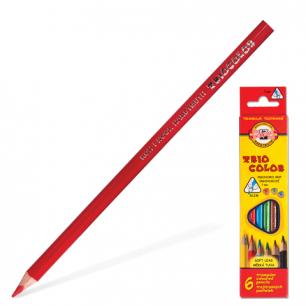 """Карандаши цветные KOH-I-NOOR """"Triocolor"""",   6цв, трехгр., гр 3,2мм, заточ, карт.уп, европод, 3131/6"""