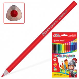 """Карандаши цветные BRAUBERG """"Kids Series"""" 12 цв., утолщенные, трехгранные, карт. упак. 180836"""