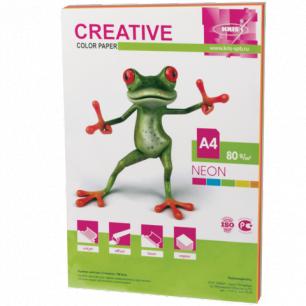 Бумага CREATIVE color (Креатив)  А4, 80г/м, 50 л. (5 цв.х10л.)  цветная неон, БНpr-50r, ш/к 41447