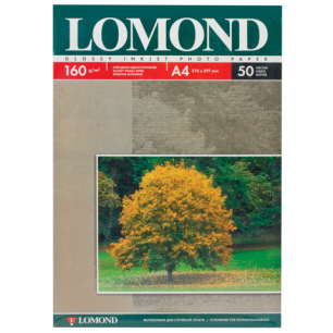 Фотобумага LOMOND д/струйной печати А4, 160г/м, 50л., односторонняя, глянцевая (0102055)