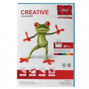 Бумага CREATIVE color (Креатив)  А4, 80г/м, 100 л. интенсив голубая, БИpr-100г, ш/к 45254