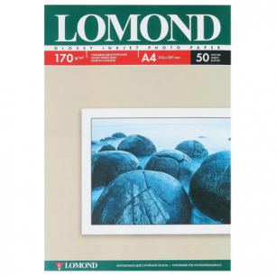 Фотобумага LOMOND д/струйной печати, A4, 170 г/м2, 50 л., односторонняя, глянцевая 0102142