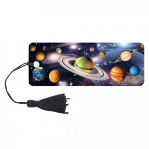 """Закладка д/книг с линейкой 3D BRAUBERG, объемная, """"Вселенная"""", декор. шнурок-завязка, 125757"""