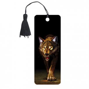 """Закладка д/книг с линейкой 3D BRAUBERG, объемная, """"Волк"""", декор. шнурок-завязка, 125756"""