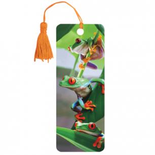 "Закладка д/книг с линейкой 3D BRAUBERG, объемная, ""Лягушата"", декор. шнурок-завязка, 125767"