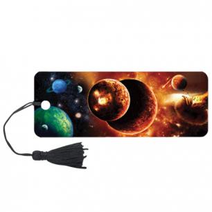 """Закладка д/книг с линейкой 3D BRAUBERG, объемная, """"Космос"""", декор. шнурок-завязка, 125761"""
