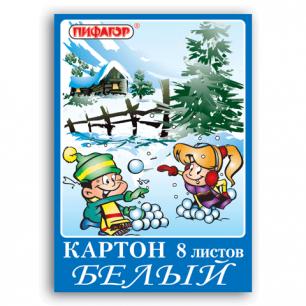 Белый картон А4 200*290мм ПИФАГОР 8л., Зима, 121437