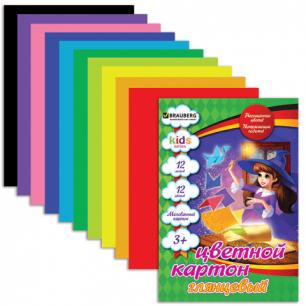 Цветной картон А4 200*290мм BRAUBERG (детская серия), МЕЛОВАННЫЙ, 12л., 12цв., Чародейка, 124770