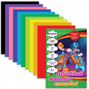 Цветной картон А4 200*290мм BRAUBERG (детская серия), МЕЛОВАННЫЙ, 12л., 12цв., Сила дракона, 124771