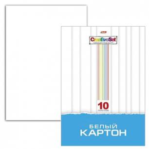 """Белый картон А4 200*280мм """"Хатбер"""" МЕЛОВАННЫЙ, 10л., в папке, Creative Set, 10Кб4_05806 (N049716)"""