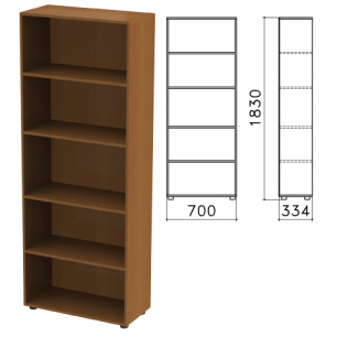 """Шкаф (стеллаж)  """"Канц"""" (ш700*г330*в1830 мм), 4 полки, цвет орех, ШК31.9"""