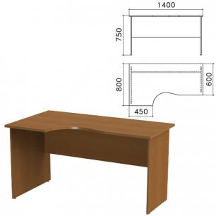 """Стол письменный эргономичный """"Канц"""" (ш1400*г800*в750 мм), левый, цвет орех, СК36.9"""